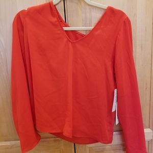 Leith V-Neck Long Sleeve Blouse Red SZ S NWT